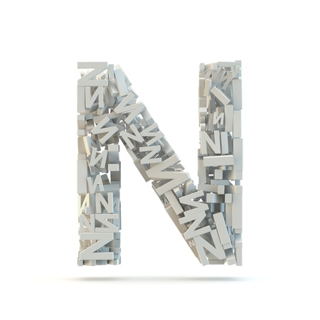 letter case: White uppercase letter N isolated on white. Part of high resolution graphical alphabet set.