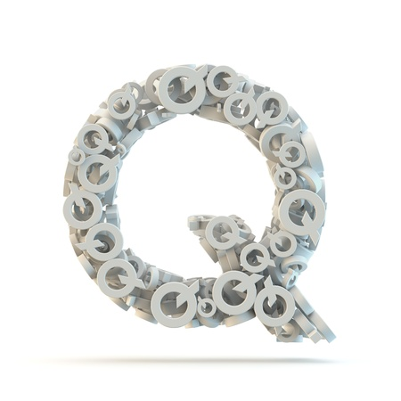 White uppercase letter Q isolated on white. Part of high resolution graphical alphabet set.