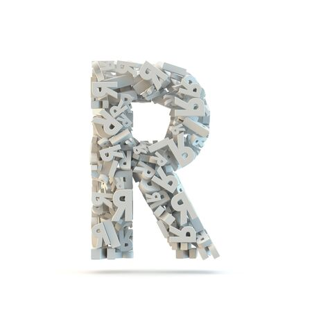 small group of objects: White uppercase letter R isolated on white. Part of high resolution graphical alphabet set.