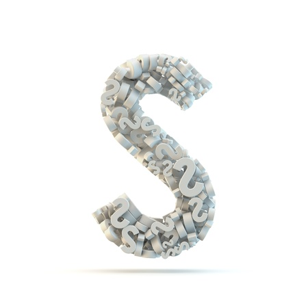 small group of objects: White uppercase letter S isolated on white. Part of high resolution graphical alphabet set.