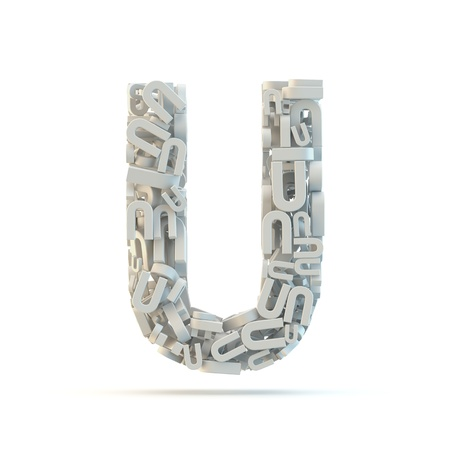 White uppercase letter U isolated on white. Part of high resolution graphical alphabet set.