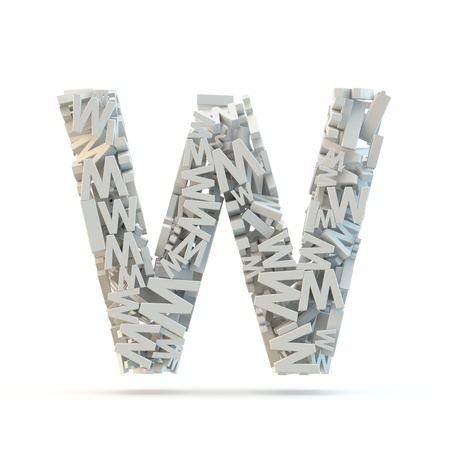 White uppercase letter W isolated on white. Part of high resolution graphical alphabet set. 版權商用圖片