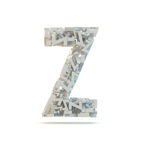 small group of objects: White uppercase letter Z isolated on white. Part of high resolution graphical alphabet set.