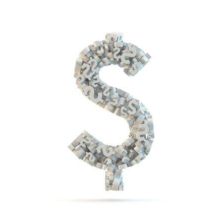 White dollar mark isolated on white. Part of high resolution graphical punctuation set. Stock Photo - 13506088
