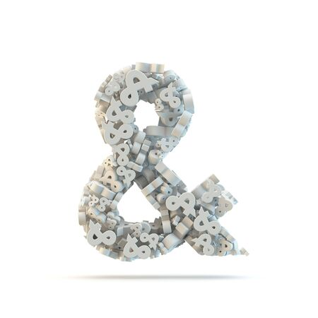 White ampersand mark isolated on white. Part of high resolution graphical punctuation set. photo