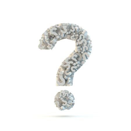 White question mark isolated on white. Part of high resolution graphical punctuation set. photo