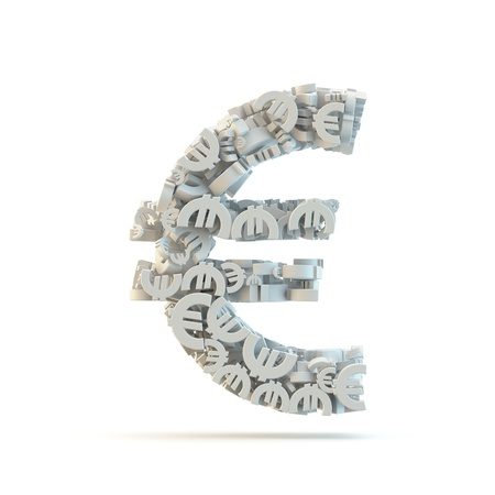 White euro mark isolated on white. Part of high resolution graphical punctuation set. photo
