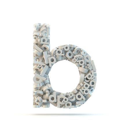 small group of objects: White lowercase letter b isolated on white. Part of high resolution graphical alphabet set. Stock Photo