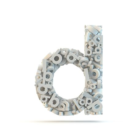 White lowercase letter d isolated on white. Part of high resolution graphical alphabet set.