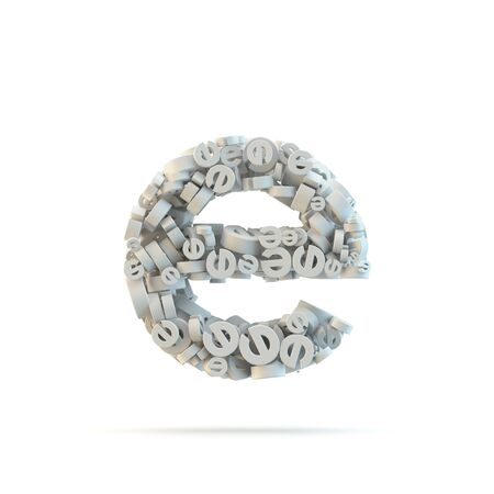 small group of objects: White lowercase letter e isolated on white. Part of high resolution graphical alphabet set.