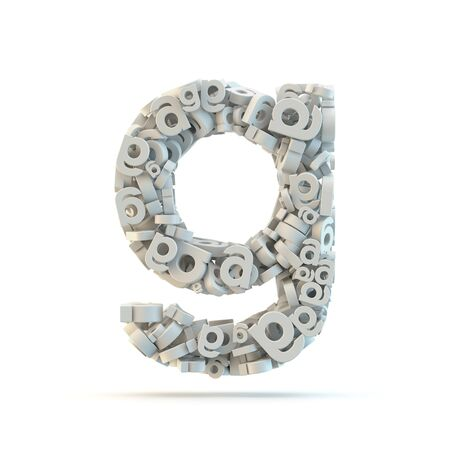small group of objects: White lowercase letter g isolated on white. Part of high resolution graphical alphabet set. Stock Photo