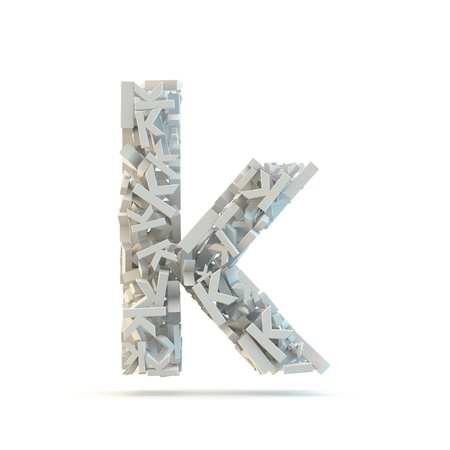 White lowercase letter k isolated on white. Part of high resolution graphical alphabet set.