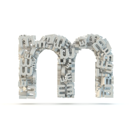 White lowercase letter m isolated on white. Part of high resolution graphical alphabet set.