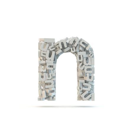 White lowercase letter n isolated on white. Part of high resolution graphical alphabet set.