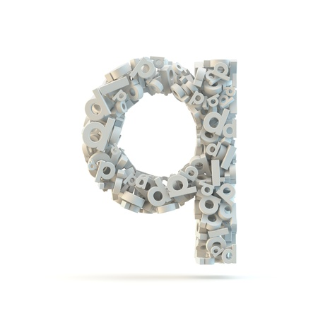 small group of objects: White lowercase letter q isolated on white. Part of high resolution graphical alphabet set.