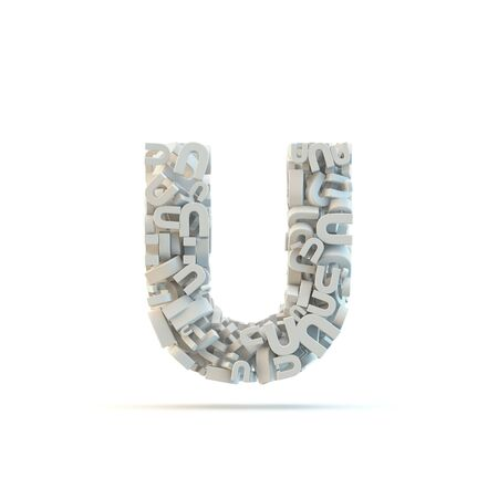 White lowercase letter u isolated on white. Part of high resolution graphical alphabet set.