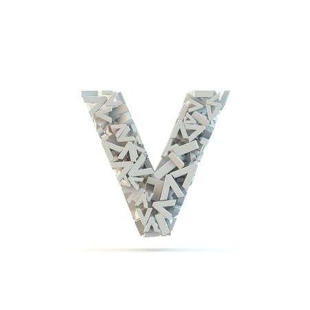 White lowercase letter v isolated on white. Part of high resolution graphical alphabet set.