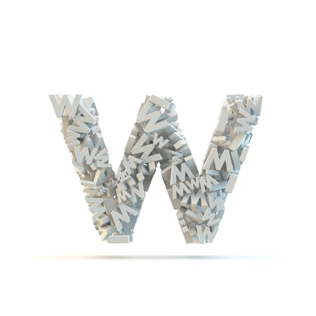 White lowercase letter w isolated on white. Part of high resolution graphical alphabet set.