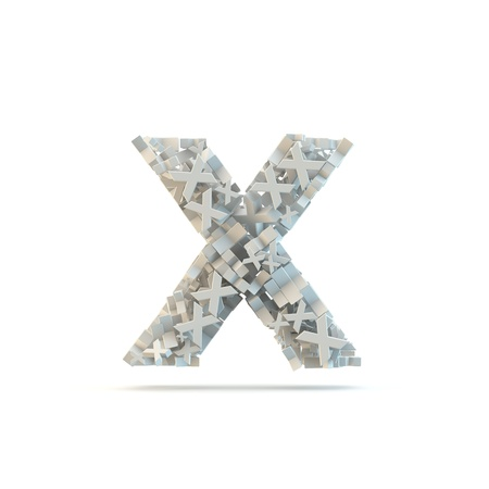 small group of objects: White lowercase letter x isolated on white. Part of high resolution graphical alphabet set.