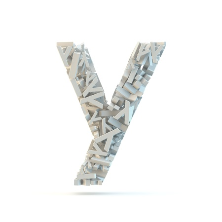 small group of objects: White lowercase letter y isolated on white. Part of high resolution graphical alphabet set.