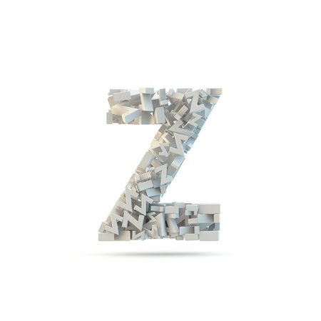 small group of objects: White lowercase letter z isolated on white. Part of high resolution graphical alphabet set.