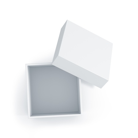 product box: White cube box with top cover. High resolution 3D illustration