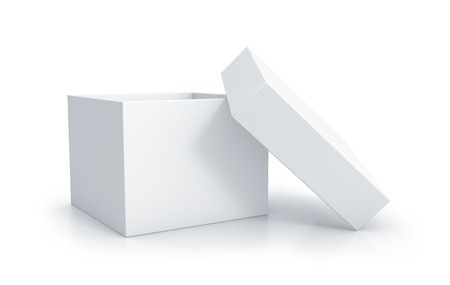 White cube box with top cover. High resolution 3D illustration Stok Fotoğraf - 14664232