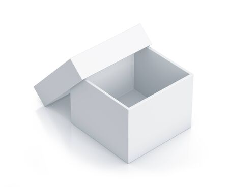 White cube box with top cover. High resolution 3D illustration  illustration