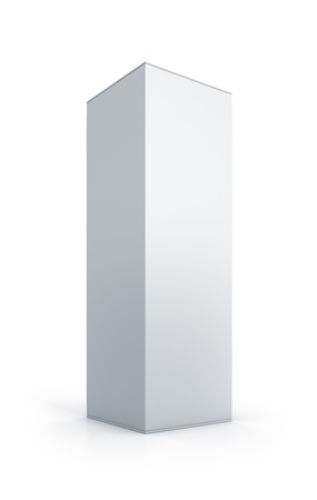 White tall box. High resolution 3D illustration  Stok Fotoğraf