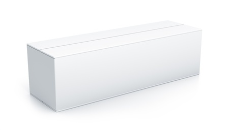 White long box. High resolution 3D illustration with clipping paths.