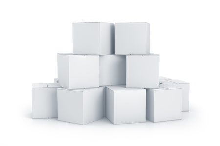 White cube boxes. High resolution 3D illustration with clipping paths.