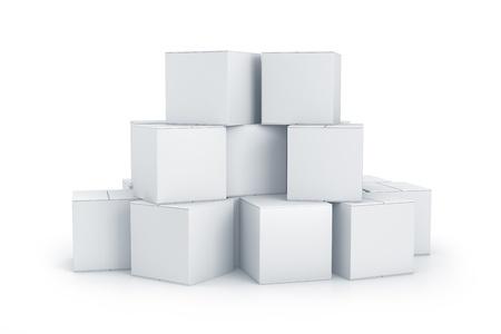Witte kubus dozen. Hoge resolutie 3D illustratie met het knippen van wegen. Stockfoto