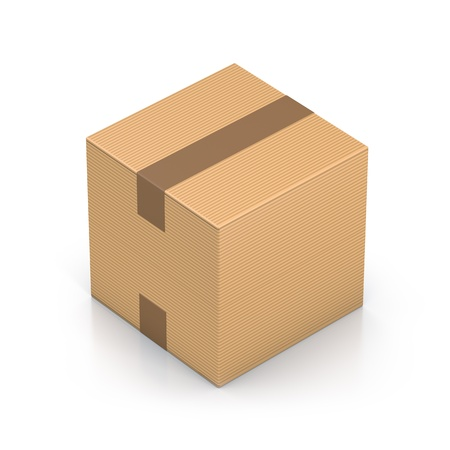 corrugated cardboard: Brown sealed cube boxes. High resolution 3D illustration with clipping paths.
