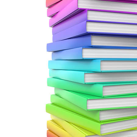 Stack of colorful glossy books  High resolution illustration isolated on white  illustration