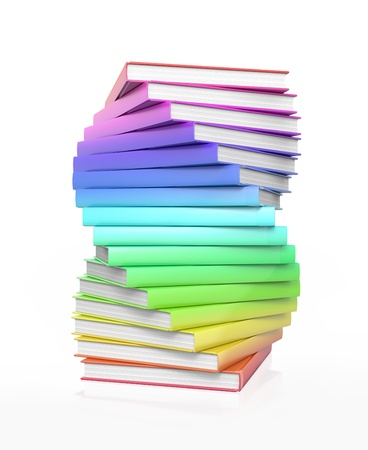 Stack of colorful glossy books. High resolution illustration isolated on white. illustration