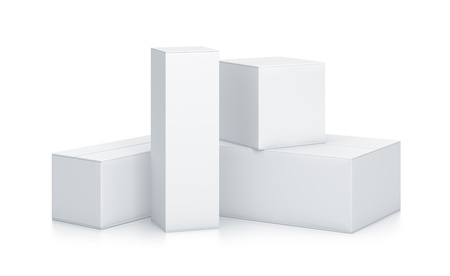 Group of White Boxes. High resolution 3D illustration with clipping paths.