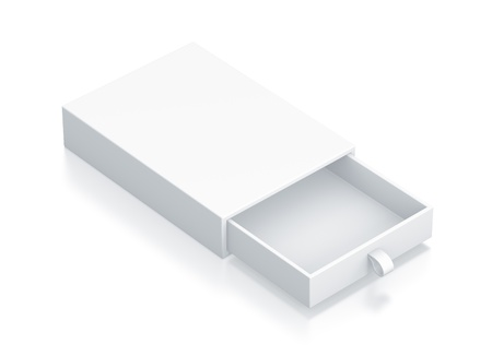 White Drawer Box. High resolution 3D illustration with clipping paths.