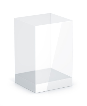 glass reflection: White Glass Rectangle Box. High Resolution 3D Illustration with Clipping Paths. Stock Photo