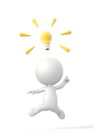 3D Person finds a Great Idea with Lightbulb  High Resolution 3D Illustration with Clipping Path