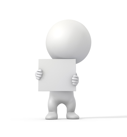 making an announcement: 3D Person Holding a Cardboard and Making Announcement  High Resolution 3D Illustration with Clipping Path  Stock Photo