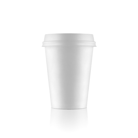 takeout: Regular white take-out coffee cup on white background