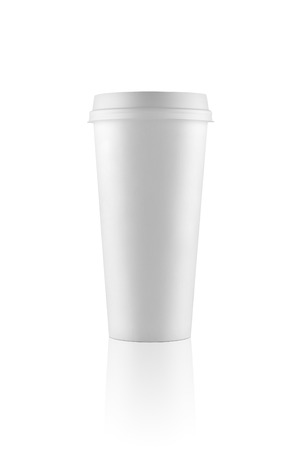 takeout: Short white take-out coffee cup on white background