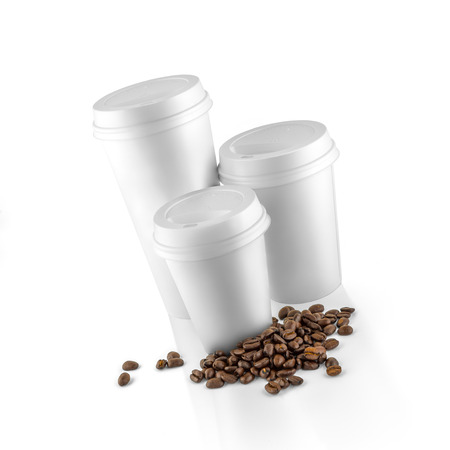 Set of white take-out coffee cups and coffee beans on white background photo