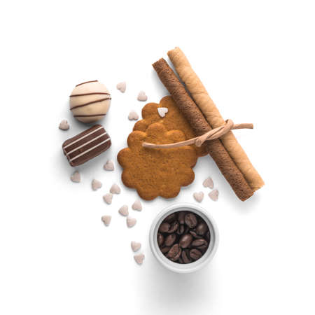 Assorted chocolate and cookies on white background photo