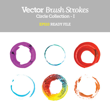 Vector Brush Strokes Circle Collection