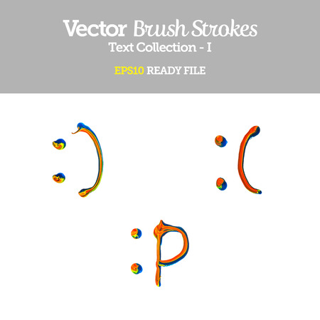 Vector Brush Strokes Smiley Collection  Çizim