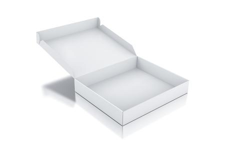 pizza box: Caja cuadrada Blanca. 3d rindió la ilustración.
