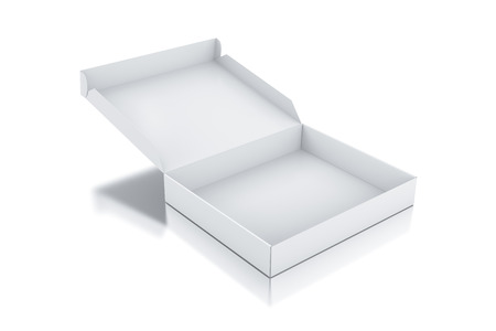 box: White square box. 3D rendered illustration.