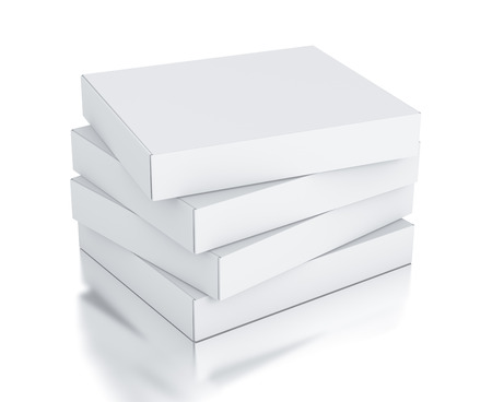 storage boxes: Stack of white square boxes Stock Photo