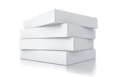 box: Stack of white square boxes Stock Photo